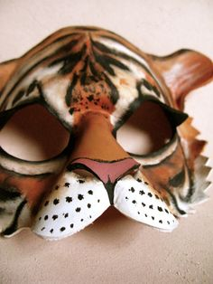 Tiger Leather Mask Masquerade Mask Halloween by LovelyLiddy