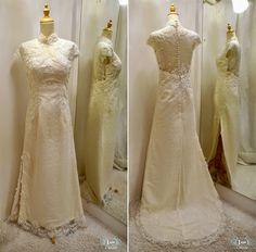 Custom Make Soft Full Lace Wedding Cheongsam for our International Chicago Bride, Illinois US modern cheongsam bride bridal qipao