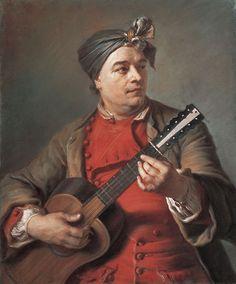 Maurice Quentin de La Tour (French, 1704–1788). Jacques Dumont le Romain (1701–1781) Playing the Guitar, ca. 1742.