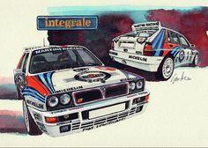 Lancia Delta Integrale HF Greeting Card for Sale by Yoshiharu Miyakawa Bike Illustration, Martini Racing, Lancia Delta, Car Drawings, Automotive Art, Road Racing, Custom Cars, Great Artists, Rally