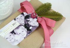 Photo as a tag on gift...LOVE this idea! ideias para pacotes de presente!