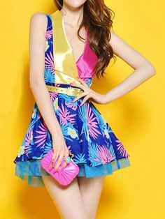 Women's #Fashion #Clothing: Clothes: Vintage Flower Print Pleating Dress with Belt in Pink, Blue, Yellow Floral Pattern Print