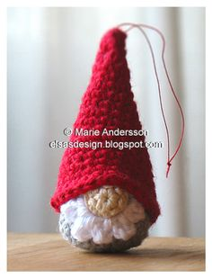 Gnome Pattern (scroll down the patterns to find it). I made a couple of the hats and turned them into egg warmers. I embroidered white snowflakes on them. Also a couple in white with red dots. Another Christmas gift ready.