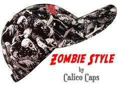 """This baseball cap is called """"Zombie Style""""....... This Limited Edition hat is perfect for fans of the """"Night of the Living Dead"""", """"Dawn of the Dead"""" movies or any of the many, many zombie apocalypse theme TV shows. Black & white (with grey tones) pop-art cartoon style drawings of zombies climbing over one another. On every-other panel the logo for """"The Walking Dead"""" is featured. White top-stitching with black grosgrain band on the pretty, white-on-white floral print cotton lining."""