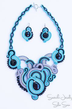 Turquoise, Black and Shades of Grey unique handmade soutache necklace and earrings with onyx stones