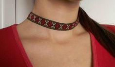 Woman Pattern Collar / Girlie Cute Collar / Girls Teenage Collar / Cute Girls Choker / Grunge 90s Girls Collar / Girls Boho Gypsy Collar