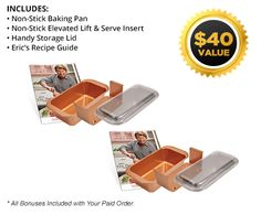 5-in-1 Non-Stick Loaf Pan For Perfect Meatloaf, Cakes, Breads, Roasts & More | Copper Chef Perfect Loaf Pan™  $15