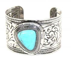 Turquoise Cuff Bracelet Western Swirl Bracelet  This bracelet is beautiful and chic!  It's easy to wear with a classic western design. Dress this piece up or wear it everyday.  Western Bracelet  - Bangle - Easy to Wear - Beautiful Design - Slip-on, one size fits most - Lead Compliant