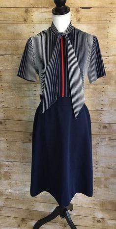 Womens Vintage Leslie Fay Retro Stripe Secretary Dress Navy Stewardess 10/12  | eBay