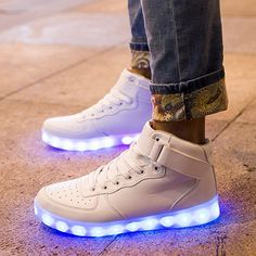 Adams Boy Girl High Top USB Charging American Flag Vamp LED Glowing Shoes Flashing Sneakers