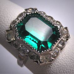 Antique Emerald French Paste Ring Art Deco by AawsombleiJewelry