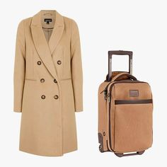 The Best Coat and Luggage Combinations for Under $300: Topshop double breasted coat, $110, topshop.com; Burton wheelie flyer travel bag, $180, burton.com