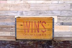 Hard To Find Vintage Wins Soda Crate    A wonderful piece of Milwaukee memorabilia!    Light colored, thick wood construction  Solid, sturdy,