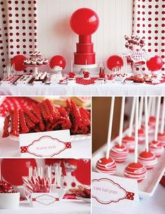 Classic Red Ball Birthday Party ~ so cute, check out all the pics and details! Red Birthday Party, Ball Birthday Parties, Birthday Ideas, 21st Party, Period Party, Red Party Decorations, Birthday Decorations, Moon Party, Deco Table