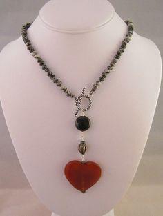 Red Agate Heart on Spider Web Jasper Necklace by urbanityartwear, $70.00