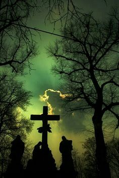 very creepy colored sky (Hurricane weather) over graveyard