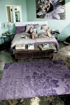 Whimsy Floral Damask Tibetan 60 Knot Wool Blend Rug - Violets - 6ft. x 9ft. by Delos Rugs on @HauteLook