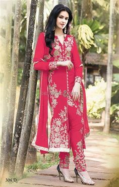 Buy Red Pink embroidered Georgette semi stitched salwar with dupatta wedding-salwar-kameez online Indian Salwar Kameez, Salwar Kameez Online, Churidar, Indian Dresses, Indian Outfits, Net Gowns, Types Of Gowns, Only Clothing, Type Of Pants