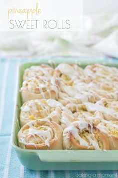 Sweet, Tender Yeast Rolls Swirled with a Luscious Pineapple Cream Cheese Filling, topped with a Tangy Cream Cheese Drizzle. This Tropical Twist on the Classic Cinnamon Roll is sure to be a hit at your next Brunch! #OnlyPhiladelphia #MyCreamCheese #ad @LoveMyPhilly from @bakingamoment
