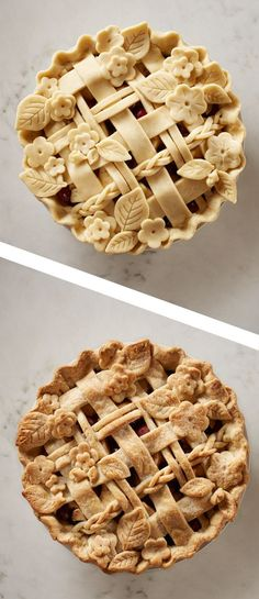 Cherry Apple Pie with a decorative crust - don't be intimidated, it's as easy as using a cookie cutter. Great pie idea for a fall party.