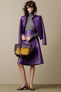 Bally Fall 2015 Ready-to-Wear - Collection, Look 13. So much to love here: purple and gold. Purple leather. Just delicious.