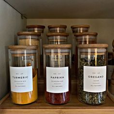 Modern Spice Labels Personalization Available Durable Spice Labels, Pantry Labels, Spice Jars, Canning Labels, Canning Recipes, Kitchen Pantry Design, Home Decor Kitchen, Home Kitchens, Kitchen Organization Pantry