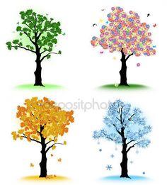 Tasarımınız için sanat ağaç. dört mevsim — Stok İllüstrasyon #13630396
