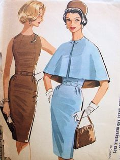 1960s SLIM FIGURE HUGGING DRESS, REVERSIBLE CAPE PATTERN TOTALLY STUNNING DESIGN VERY PAULINE TRIGERE McCALLS SEWING PATTERNS 6314