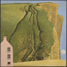 David Inshaw - Pink House, East Cliff, West Bay 2014