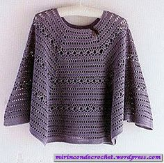 Poncho en gajos…Spanish site but Japanese chart for this - interesting! I wonder how many people in different countries will make this? Crochet Poncho Patterns, Crochet Shawls And Wraps, Crochet Jacket, Knit Or Crochet, Crochet Scarves, Crochet Clothes, Crochet Hooks, Crochet Capas, Crochet Woman