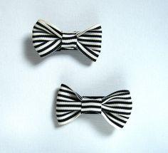 Black and White Striped Hair Clip Set