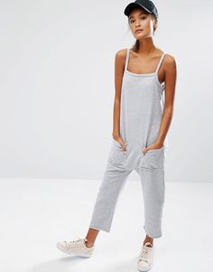 Daisy+Street+Jersey+Jumpsuit+With+Raw+Hem+And+Pockets