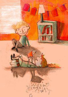 """bibliolectors: """" Es importante compartir lectura con los amigos (ilustración de Corey R. Tabor) """""""