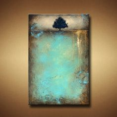 Abstract Tree Painting with Heavy Texture  24 x 36  Earth
