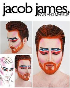 My version of Alex Box makeup face chart of David Bowie 'Aladdin Sane'