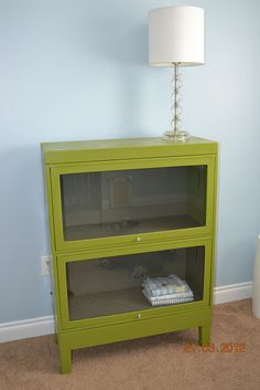 Old Army filing cabinet painted green