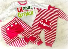 *** EXCLUSIVE*** Boys Red and White Little Mr. Grinch Holiday Pyjamas, Matching Christmas Pj's