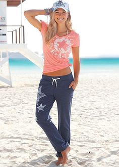 Coral & white Star print top with star pant. Top available in sizes XS-L and pant in sizes 2-14!