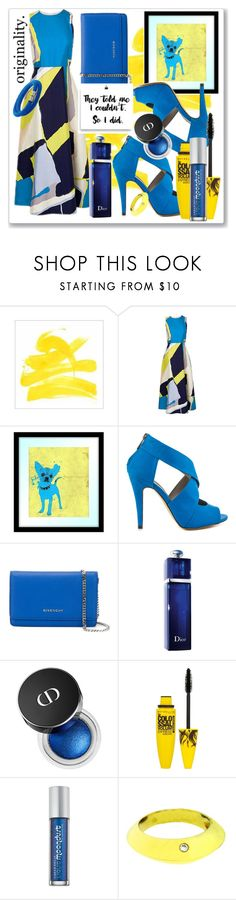 """""""Yellow and Blue"""" by sjk921 ❤ liked on Polyvore featuring Amina, PTM Images, Michael Antonio, Givenchy, Christian Dior, Maybelline, Urban Decay, Piaget and Swarovski"""