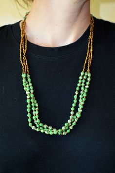 Mini Green & Gold 3-Strand Paper Bead Necklace