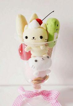 Kawaii kitty and fruit plush