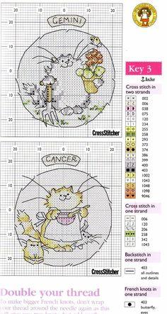 Schema punto croce Gatto Dei Gemelli
