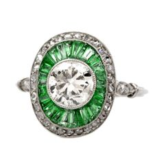 European-Cut Diamond Emerald Platinum Engagement Ring | From a unique collection of vintage engagement rings at https://www.1stdibs.com/jewelry/rings/engagement-rings/