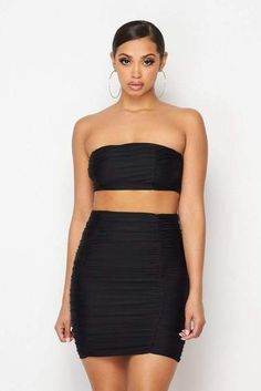 This top is anything but basic. The classic bandeau style of the Adlai Ruched Crop Top features ruched details that give a unique texture. Pack this for your next vacay and pair with the Aldai Ruched Midi Skirt for a fun and sexy summer l. Cheap Crop Tops, Black Crop Tops, Trendy Summer Outfits, Fashion Labels, Summer Looks, Fashion Forward, Midi Skirt, Strapless Dress, Women's Clothing