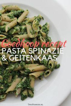 Snel en makkelijk goedkoop recept voor pasta met spinazie en geitenkaas. Voor minder dan 3 euro kun je hier met 2 á 3 personen van eten.