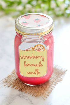 Homemade Strawberry Lemonade Candle - easy to make soy candle scented with strawberry lemonade oil. This candle is pretty pink and smells like summer!                                                                                                                                                                                 More