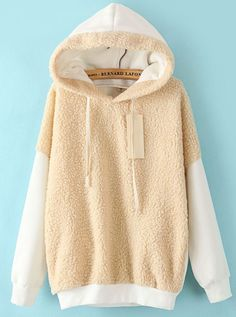 Sudadera suelta lana con capucha manga larga-Blanco EUR€17.73