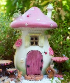 Pink Mushroom Fairy House - Miniature Fairy Garden House