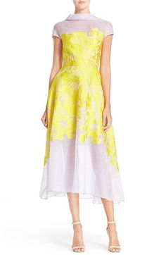Lela Rose Floral Organza V-Back Dress available at #Nordstrom I would line the skirt....IMO would look better