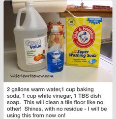 2 Gallons Hot Water Boiled In Cup Baking Soda, 1 Cup White Vinegar, 1 TBS  Dish Soap. This Will Clean A Tile Floor Like No Other! Shines, With No  Residue   I ... Part 36